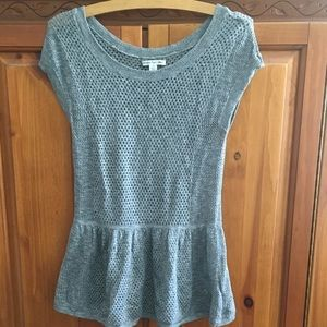 AMERICAN EAGLE Gray Mesh Knit Sweater Top Small S